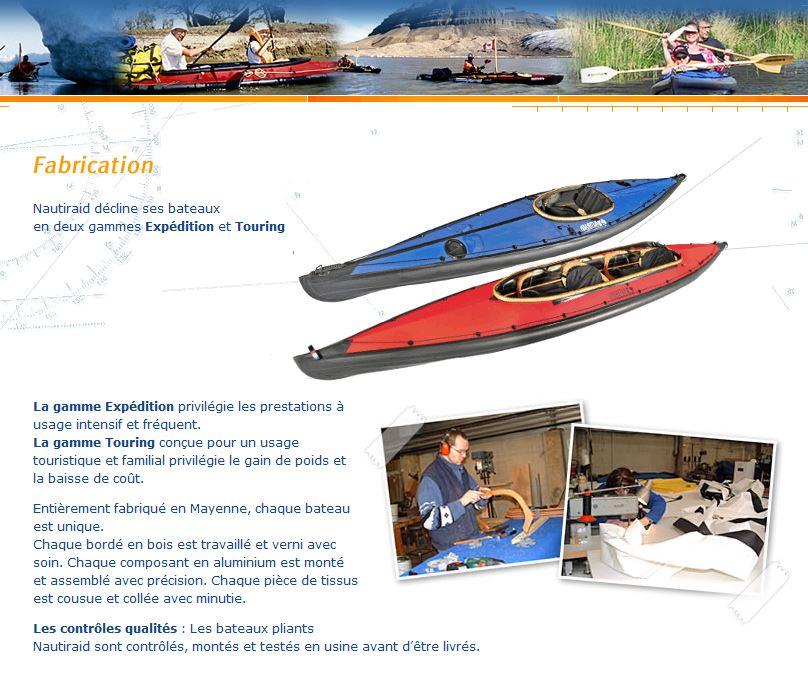 Page fabrication kayaks pliants nautiraidd